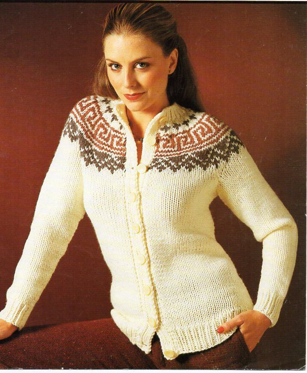 60651f1be Vintage womens fair isle cardigan knitting pattern PDF ladies ...