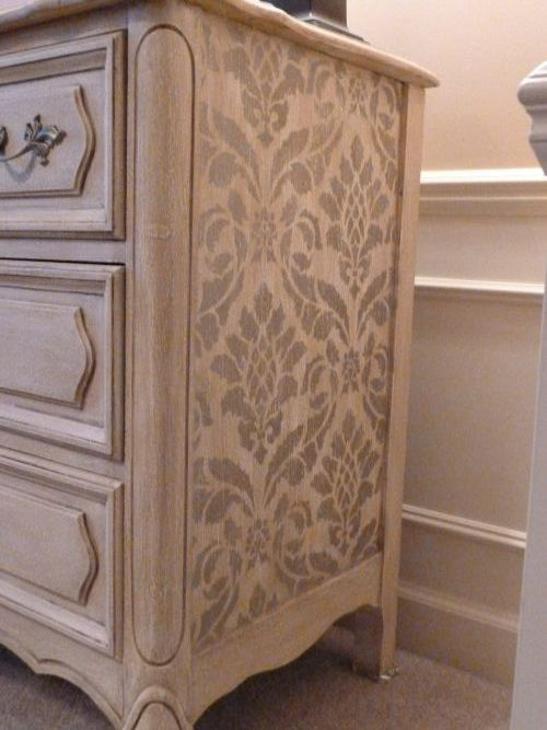 Classic Damask Stencil on Furniture | Featured by Fabulous Finishes http://fabulousfinishes.wordpress.com/2011/04/14/chris-caromal-colours-an-ugly-french-dresser-exquisitely/