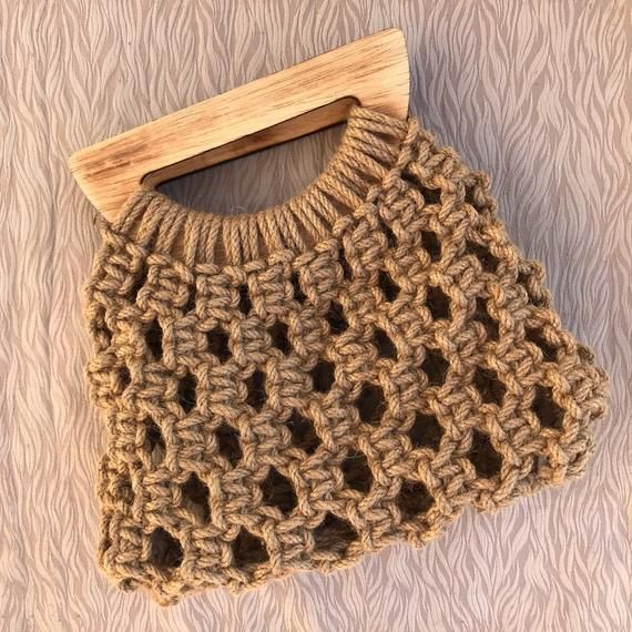 Jute macrome bag, handmade bag, macrame clutch with wooden hanger