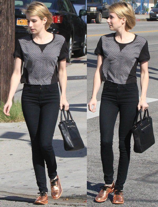 How to Wear High-Waisted Skinny Jeans Like Emma Roberts | I LOVE ...