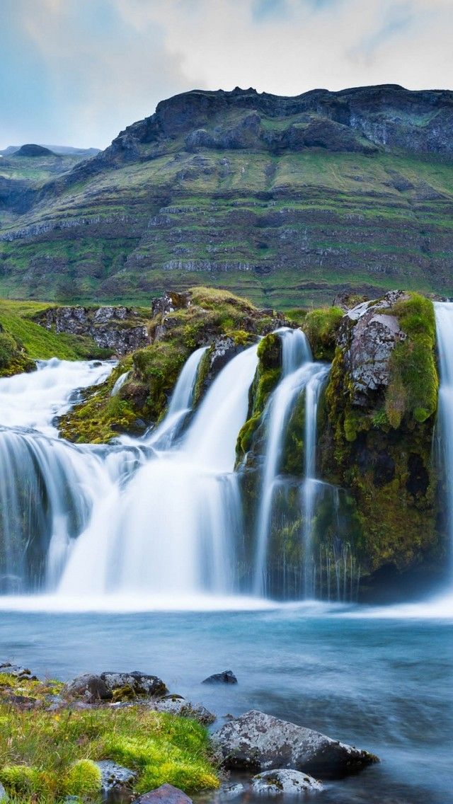 Waterfall mountains wallpaper Iceland wallpaper, Iceland