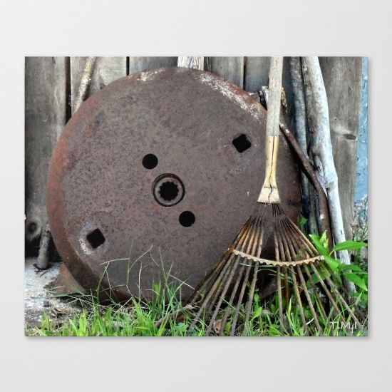 """CLICK to SEE or BUY:) """"Rust and Rake"""" Canvas. Original fine art print by Nadia Bonello on bright white, fine poly-cotton blend, matte canvas."""