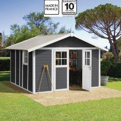 Gartenhaus aus Kunststoff 7,5m² DECO dunkelgrau & weiß