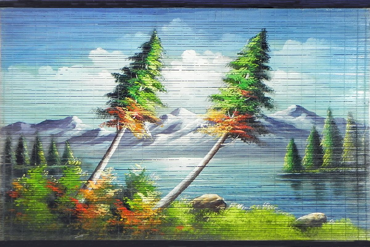 Beauty Of The Nature Painting On Bamboo Strands Nature Paintings Painting Landscape Paintings