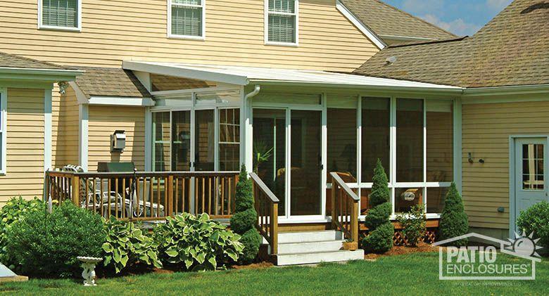 White Aluminum Frame Three Season Sunroom With Single Slope Roof Sunroom Ideas Photos Discover More Sunroom Addition Hot Tub Outdoor Screen Porch Panels