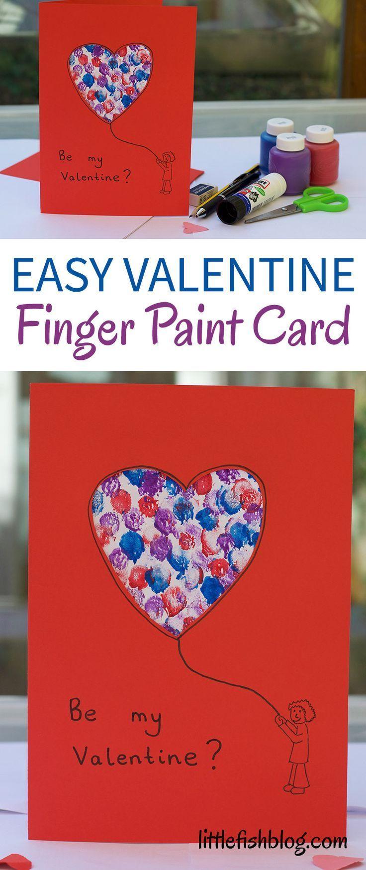 easy valentine finger paint card  little fish