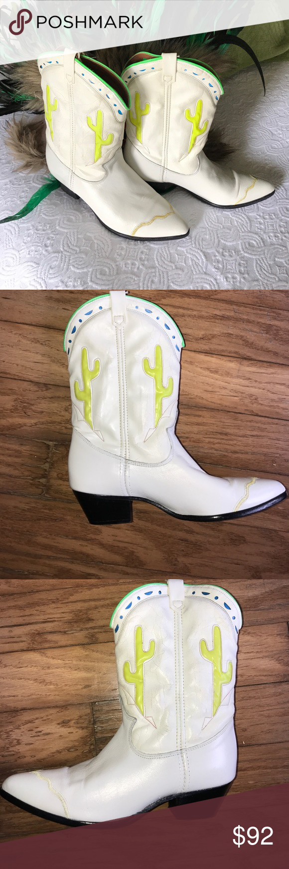 8O's Distressed neon cactus inlay cowboy boots Pre owned