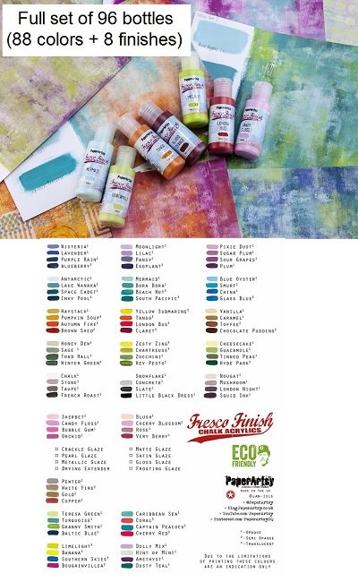 Paper Artsy Fresco Finish Acrylic Paints Full Set Of All 96 Paints Save Paper Artsy Colorful Paintings Acrylic Paint Color Chart