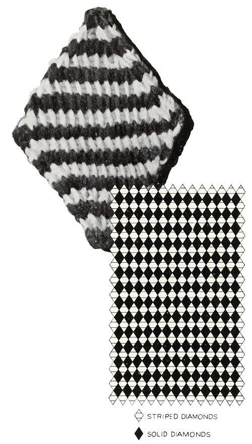 Blue Diamond Afghan Pattern Chart Vintage Crochet Patterns