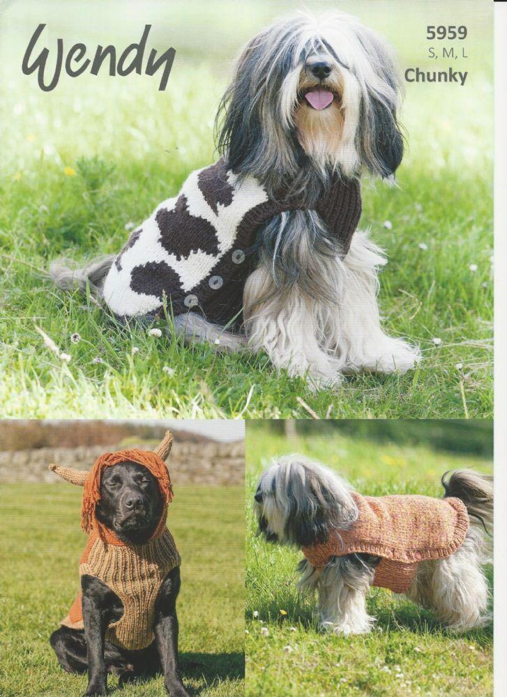 Wendy Dog Coats Chunky Knitting Pattern 5959 Dog Coat