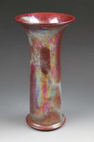 A Ruskin Pottery Trumpet Vase Rose Lustre Glaze Overlaid With Ice
