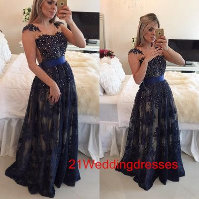Hot sales navy blue prom dresses,lace prom dresses,long prom dresses,beaded prom dress,evening dresses,prom gowns,party gowns