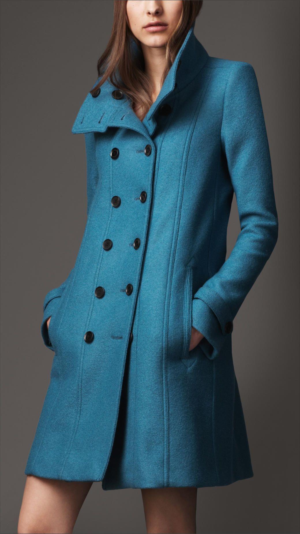 b3ae4b784ce9 Burberry Wool A-Line Coat in Blue (pale petrol blue)   Shopping Wish ...