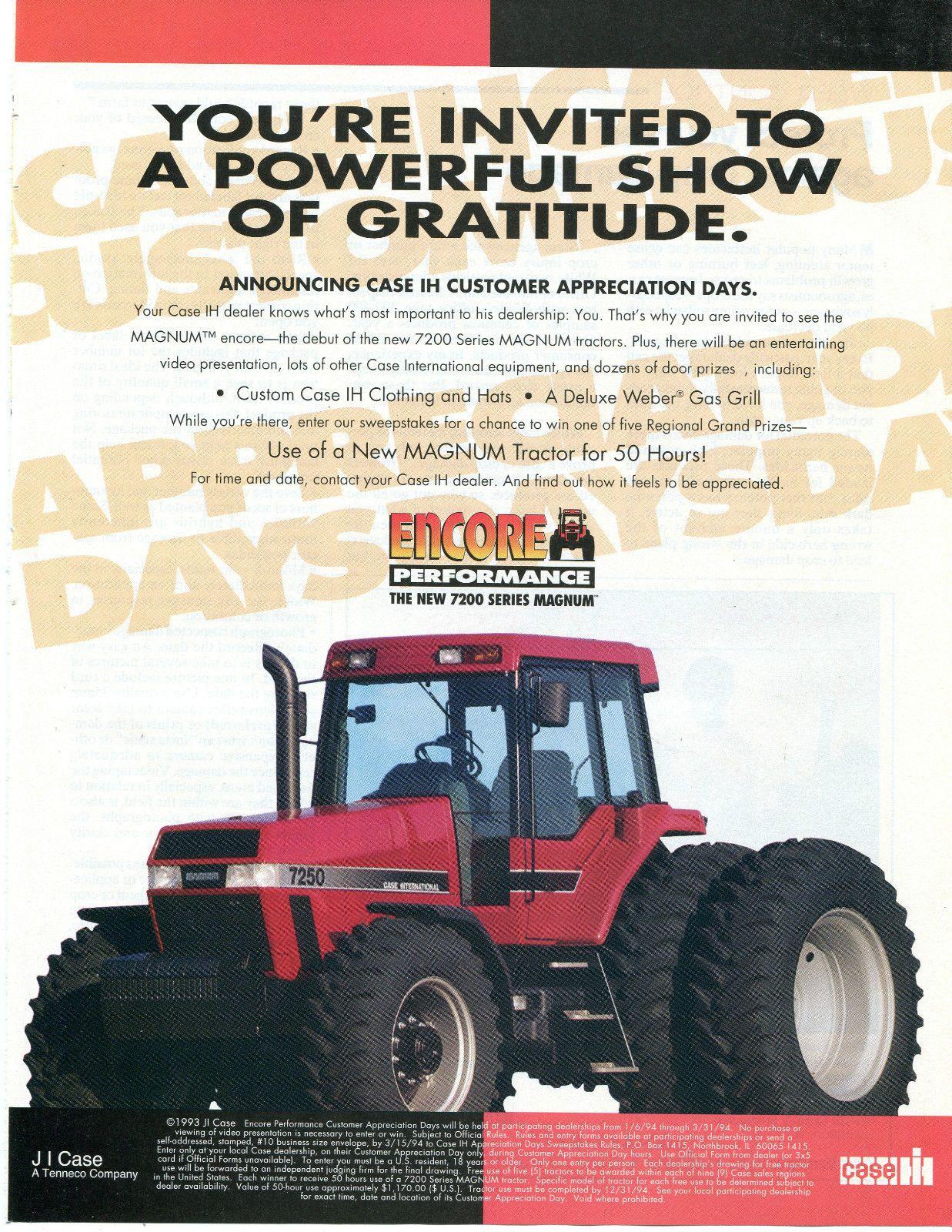 1994 Case International Harvester IH 7250 Magnum Tractor Magazine Ad | eBay