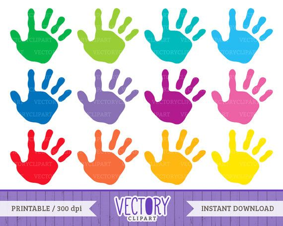 12 Handprint Clipart Set, Kids Handprint Images, Kids ...
