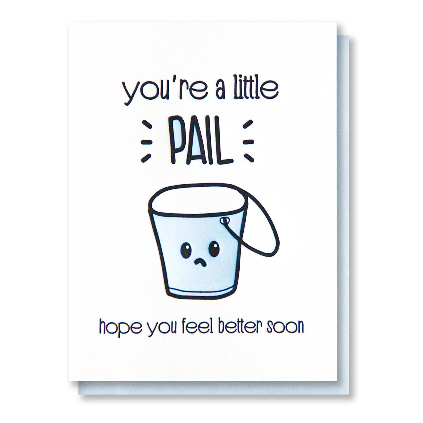 Funny Get Well Letterpress Card Feel Better Soon Pun Little Pail Kiss And Punch Funny Get Well Cards Feel Better Cards Letterpress Cards