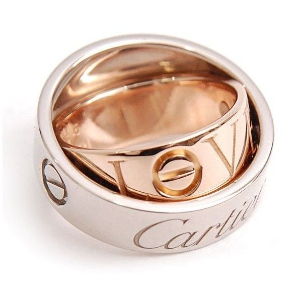 Preowned Cartier 750 White Rose Gold Secret Love Ring Size 30