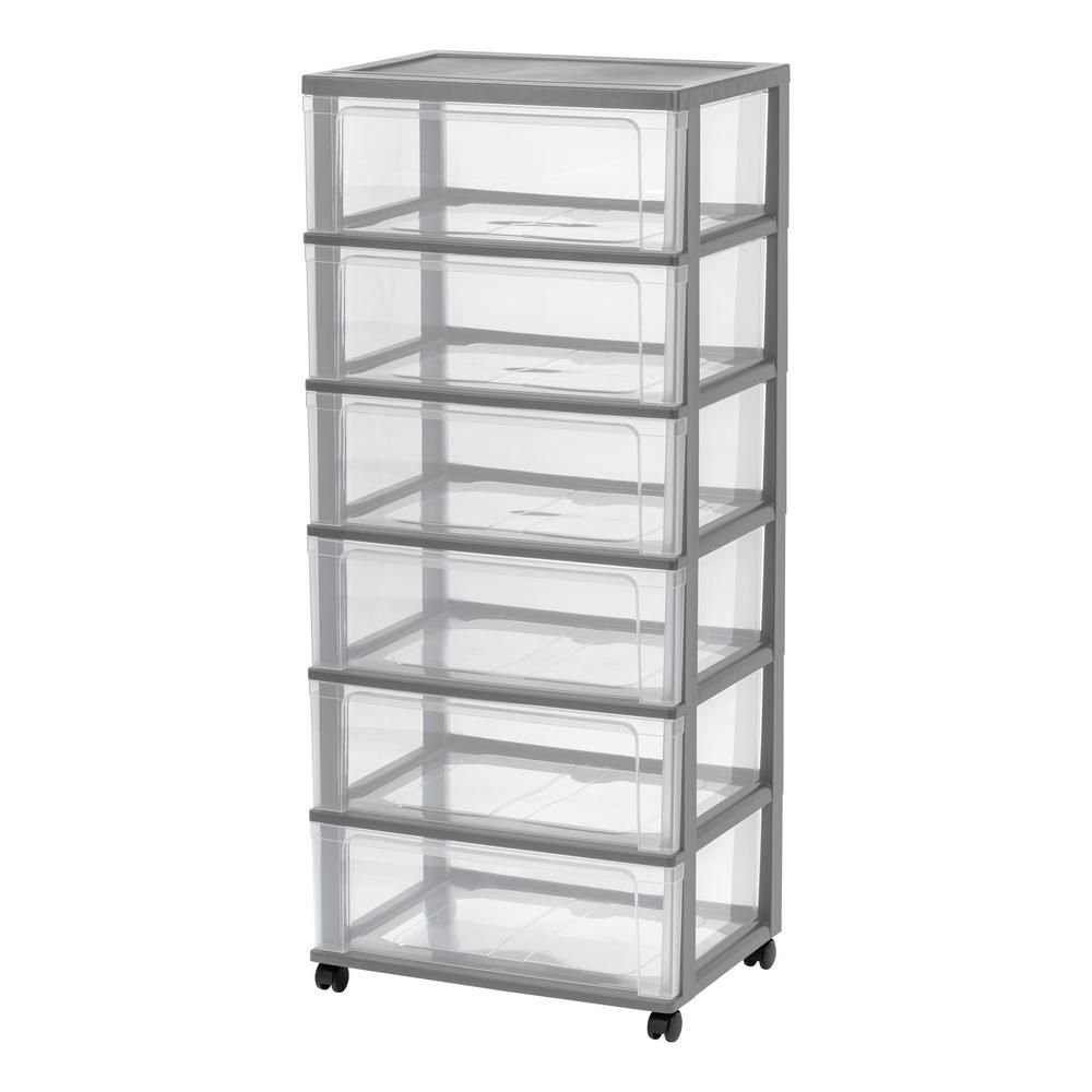 Iris 6 Drawer Plastic Wheeled Wide Chest In Gray Drawers Plastic Drawers Rolling Storage