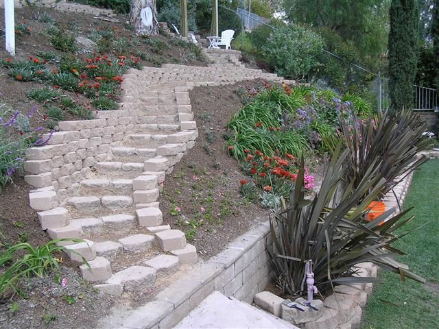 concrete pavers steps slope