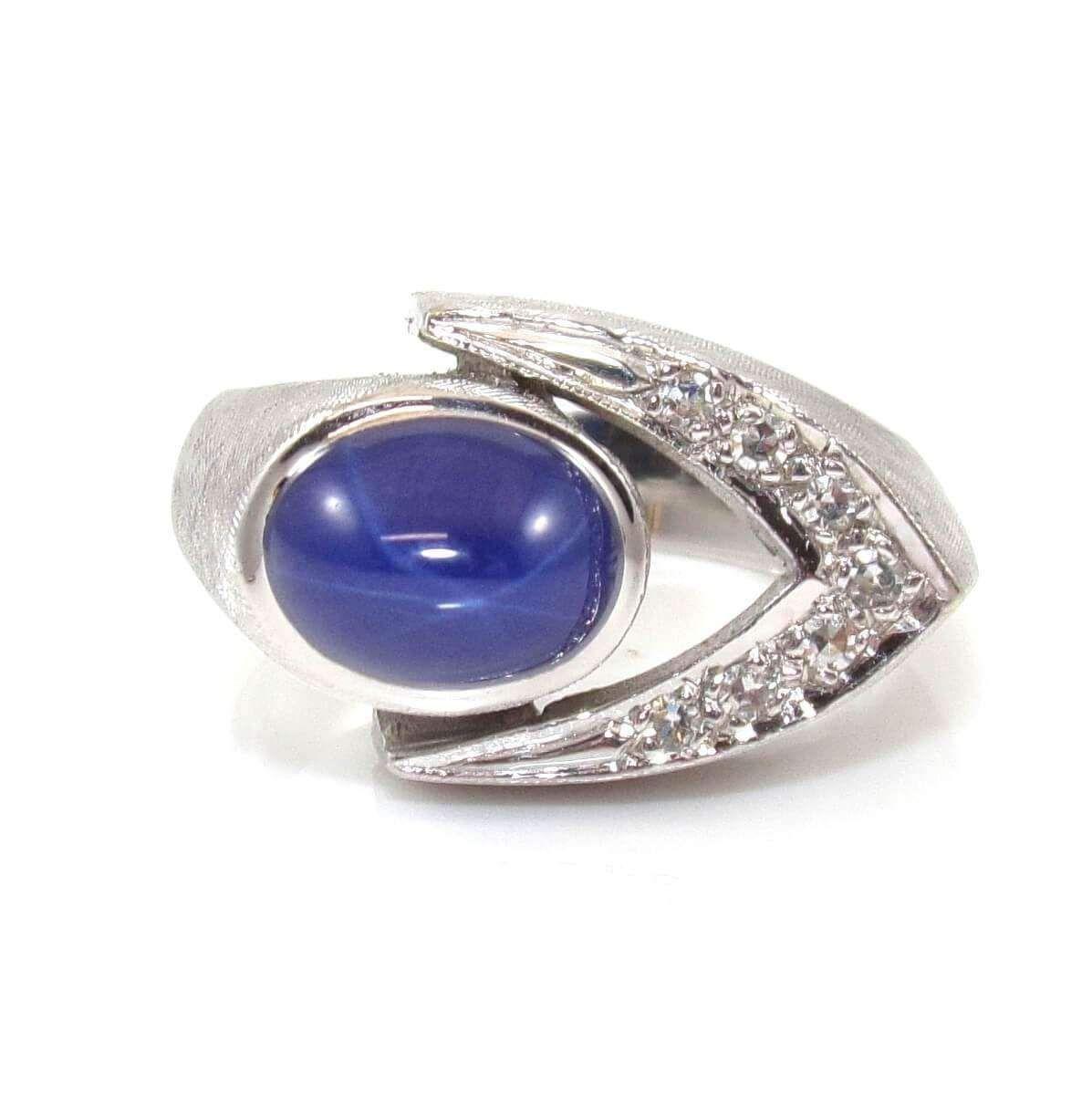 14k White Gold Natural Diamond Lindy Star Sapphire Ring Size 7 5 Star Sapphire Ring Sapphire Ring Rings