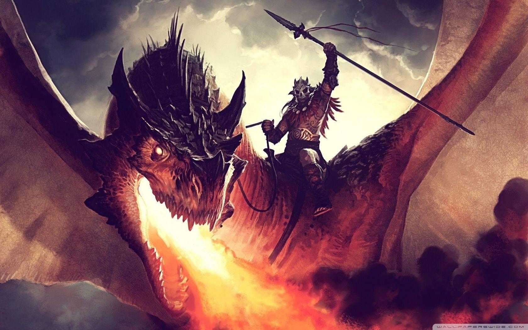 Download FireBreathing Dragon HD Wallpaper Digital art