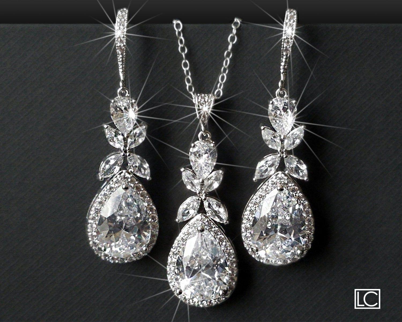 Bridal Jewelry Set, Cubic Zirconia Earrings&Neckla