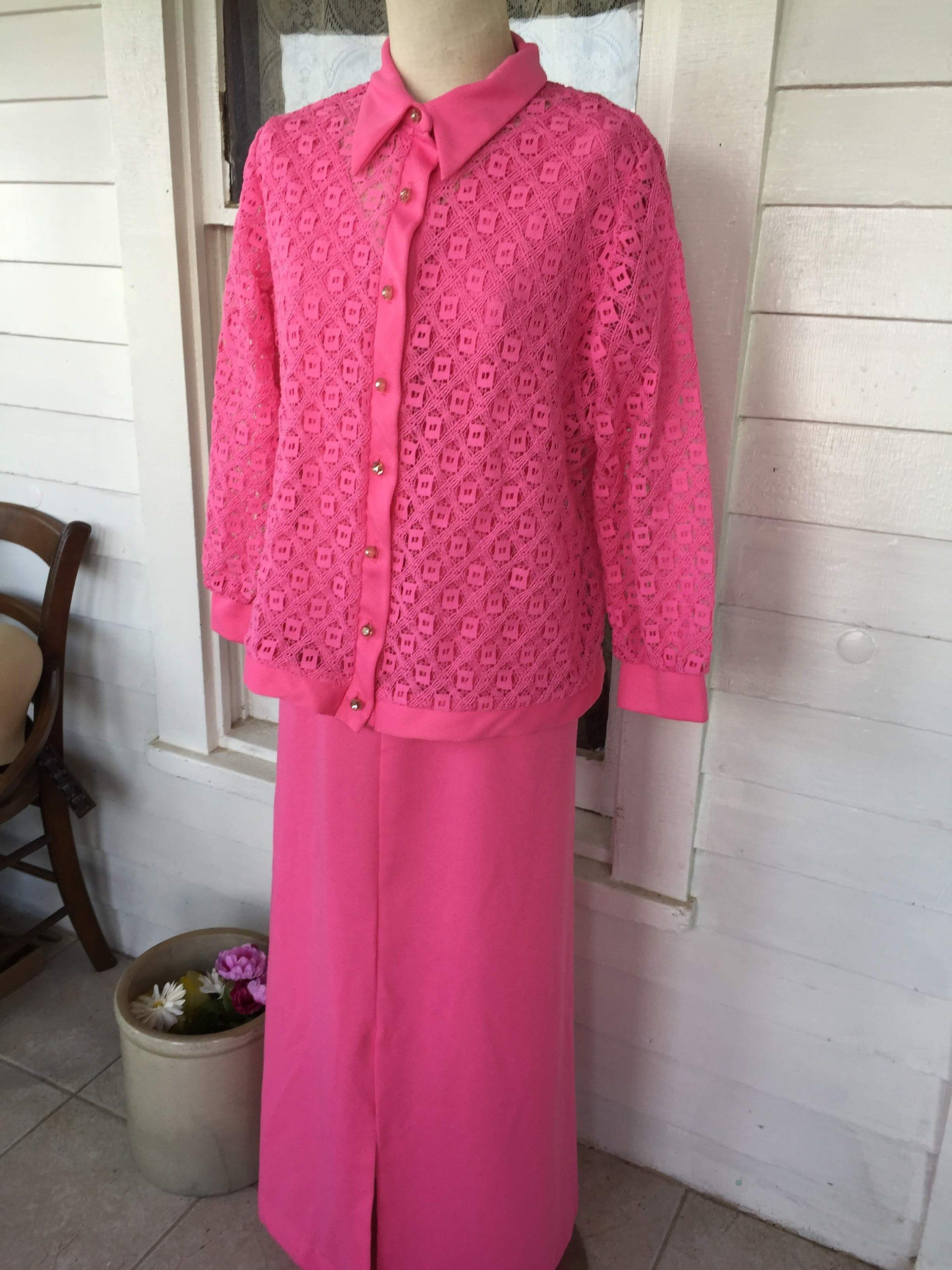 Vintage long hot pink maxi long dress with lace jacket xl size