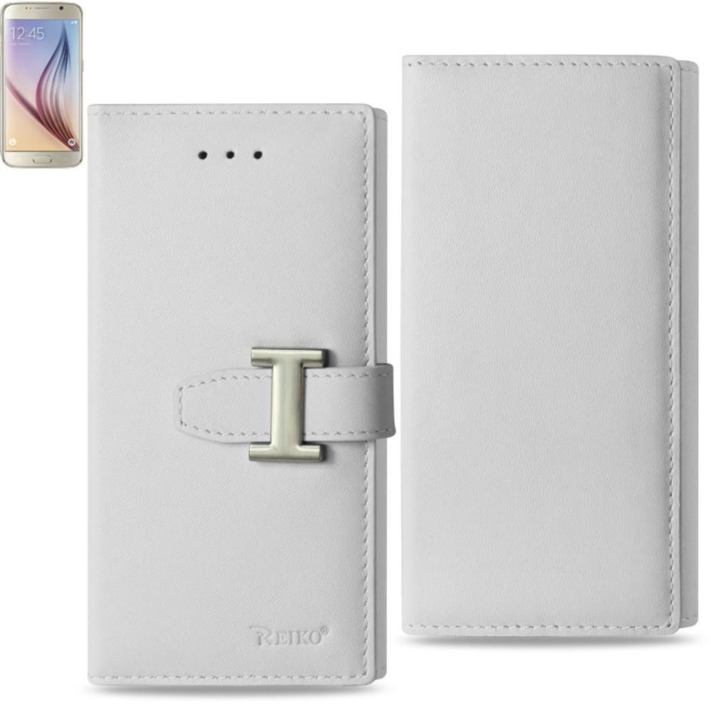 Reiko Samsung Galaxy S6 Genuine Leather Flip Wallet Case Built In Secure Metal Buckle And Rfid Design In Ivory