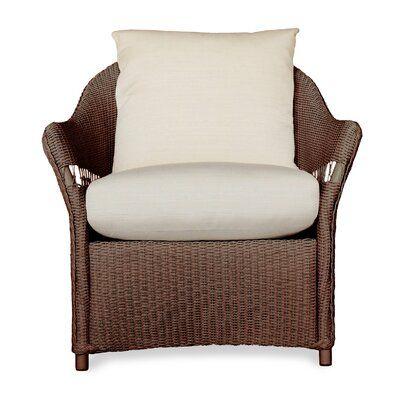 Lloyd Flanders Freeport Patio Chair with Cushions Frame Color: Premium Chocolate, Cushion Color: Impact Aegean, Sunbrella