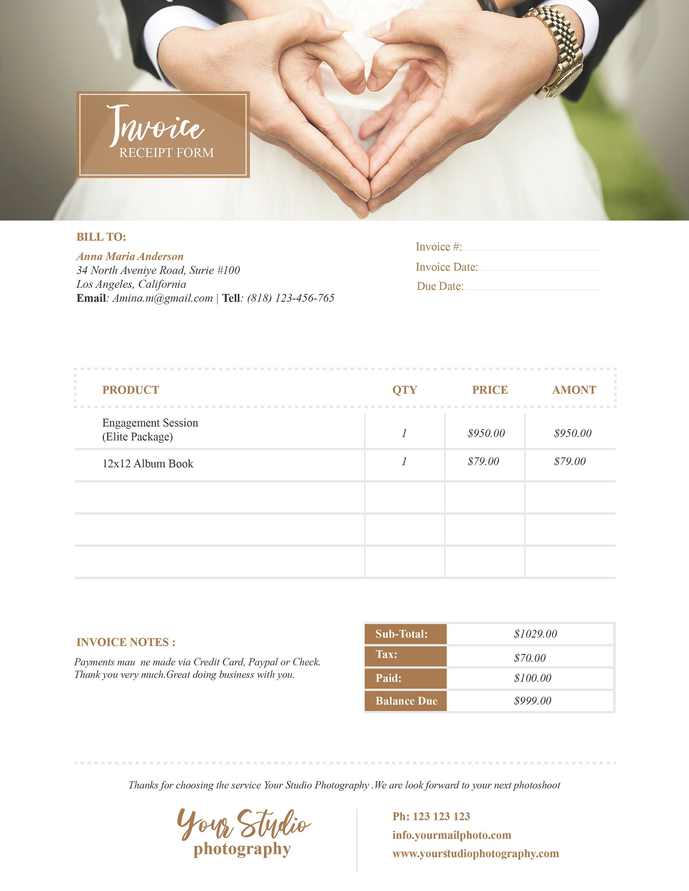 Wedding Photography Invoice Template Price Guide List For Photographers Photography Photo Price Photography Invoice Invoice Design Photography Invoice Template