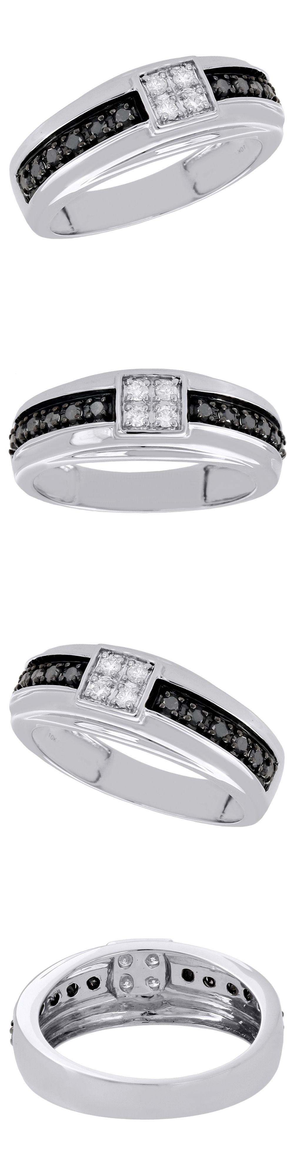diamonds and gemstones 10k white gold mens black diamond