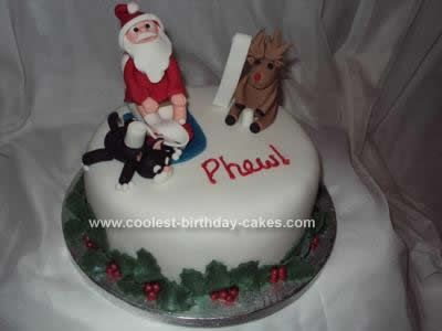 Funny Homemade Christmas Cake With Fondant Santa Homemade Cake