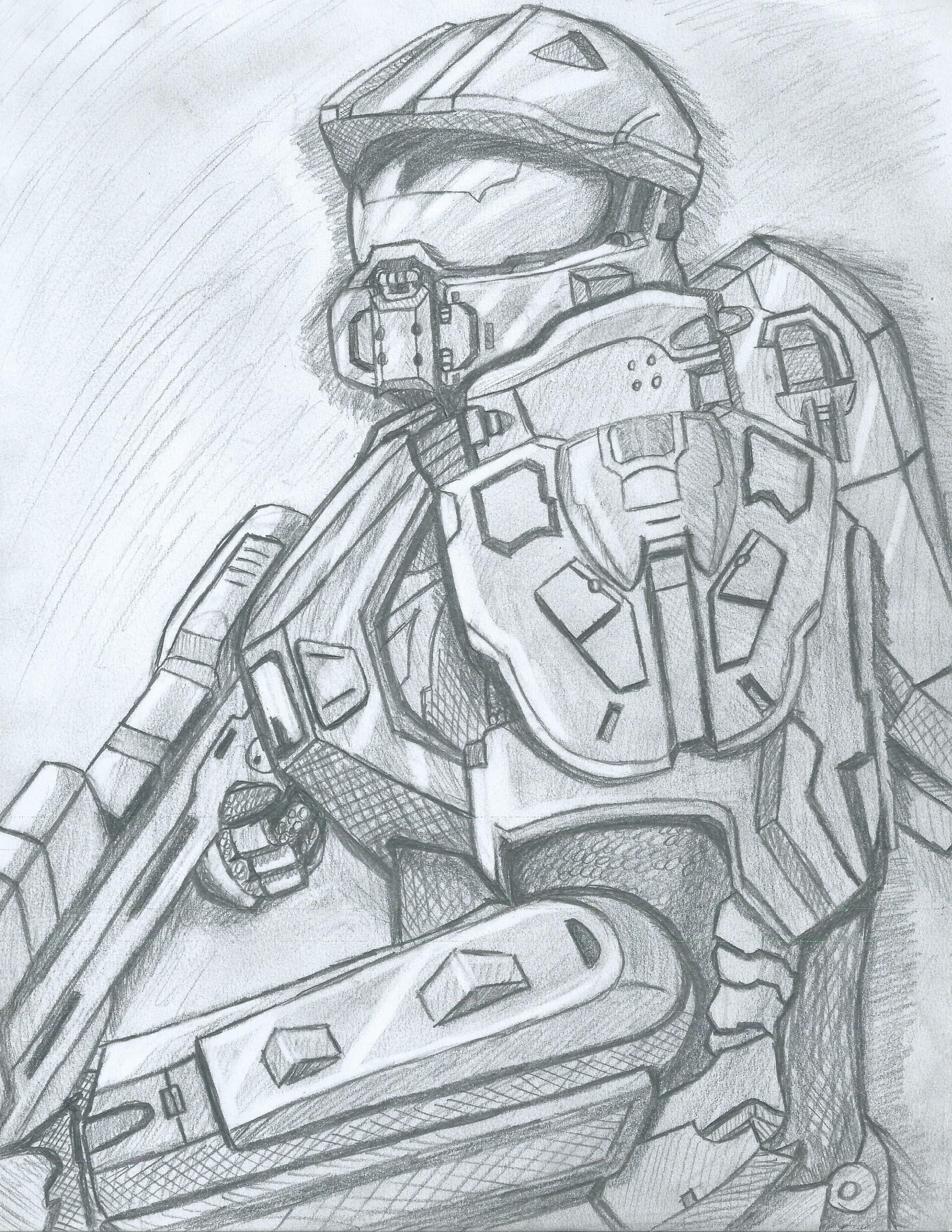 Sketch of Halo 4 Master Chief  | Sketches in 2019 | Halo