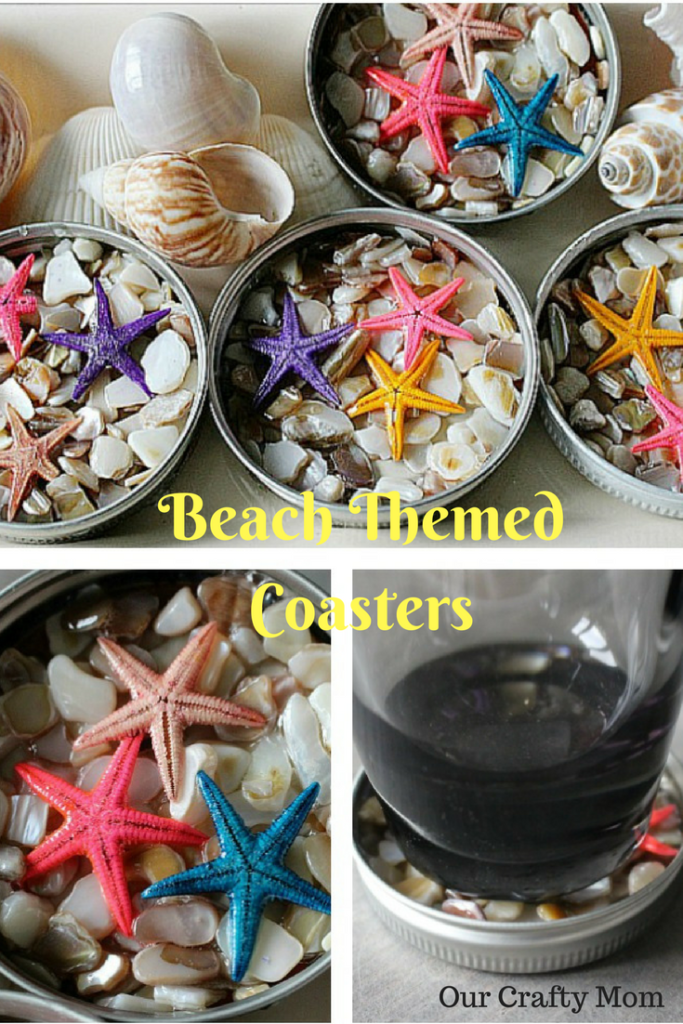 DIY Beach Themed Coasters From Mason Jar Lids #masonjardiy
