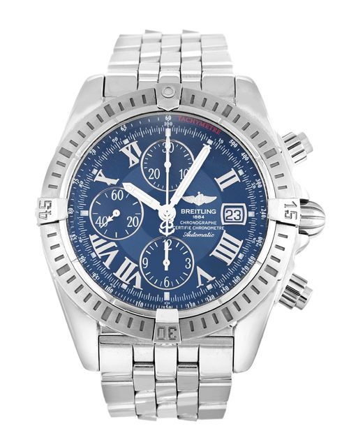 cb43a23367d Gents Breitling Chronomat Evolution A13356 Steel Automatic Blue Roman  Numeral  Breitling