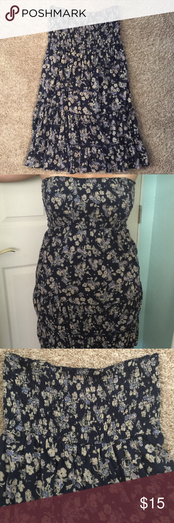 Tube top dress from Express. Selling a cute and comfy tube top dress. Elastic on top and cute ruffles on bottom. Very flattering on. Hits right above the knee. Size large. Non smoking home! Great condition. Express Dresses Strapless