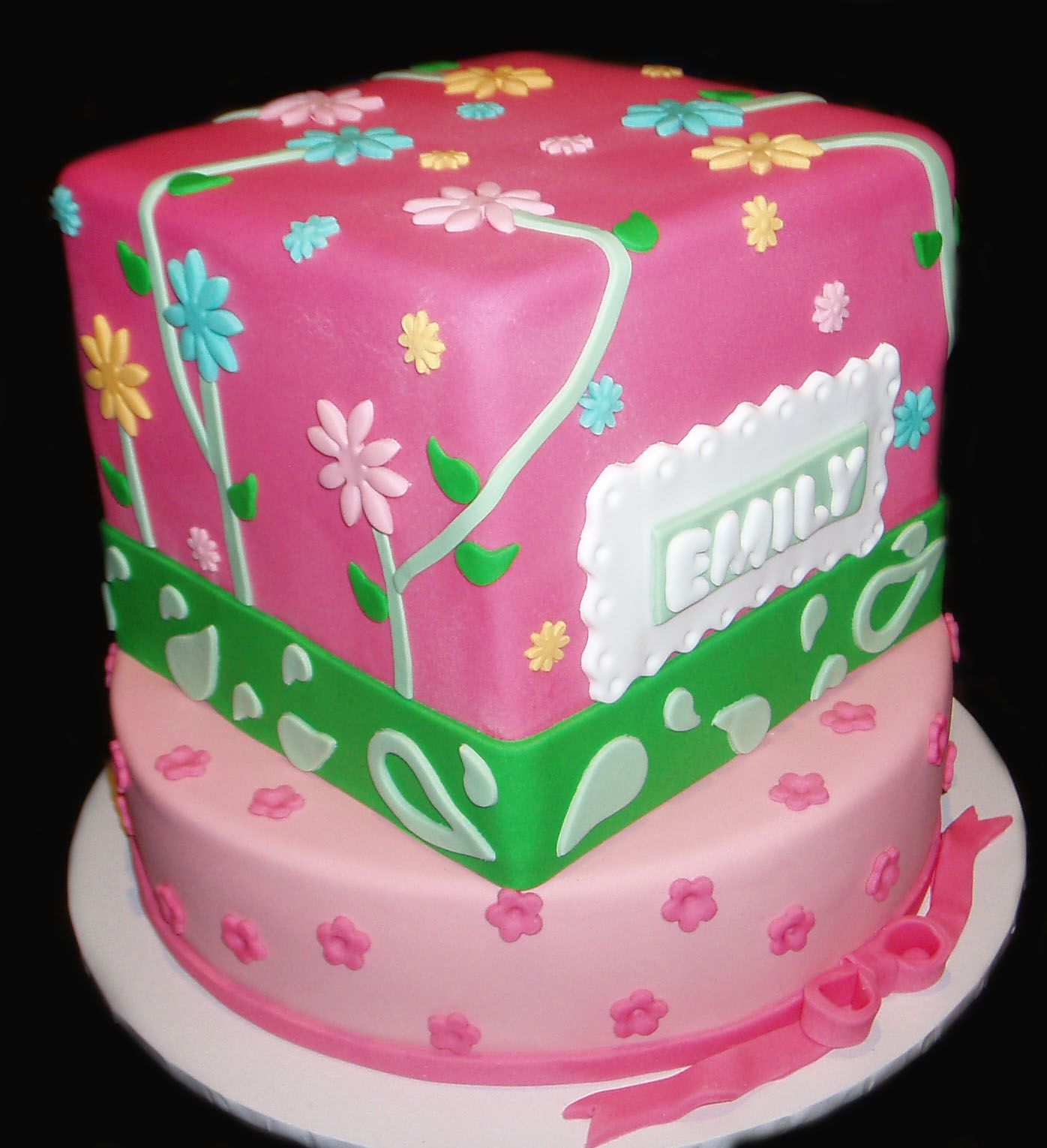 Pretty Pink Naming Day Cake