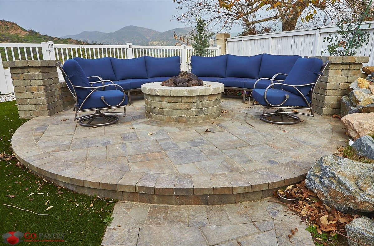 Circular Patio Area Built From Paver Stones With A Pavers Firepit Perfect  To Host Family And