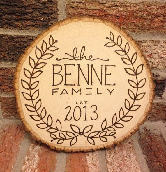 Custom Wood Burnt Family Name Sign On Rustic Wood Slice By