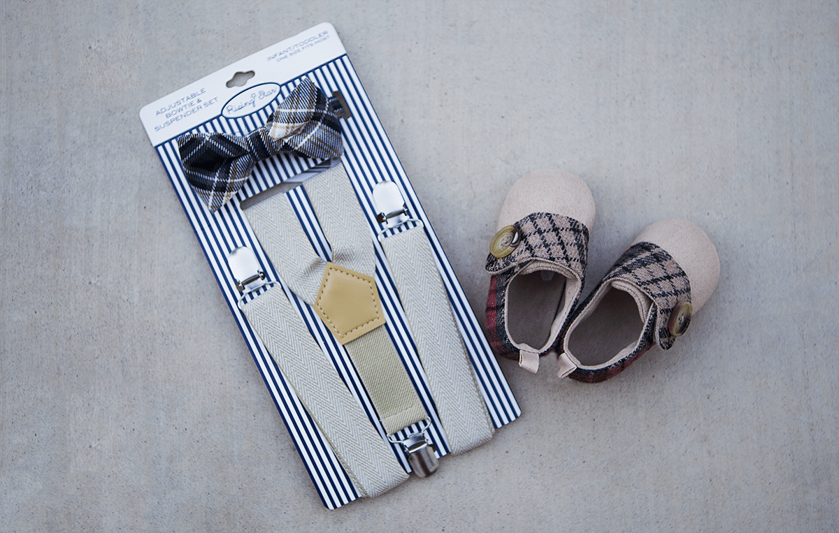 They have this at Cracker Barrel - SO cute, these plaid shoes and suspenders for babies!