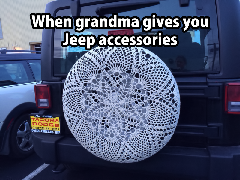 When Grandma gives you Jeep accessories | crochet tire cover