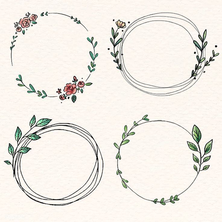 Photo of Download the premium illustration of doodle floral wreath vector collection …