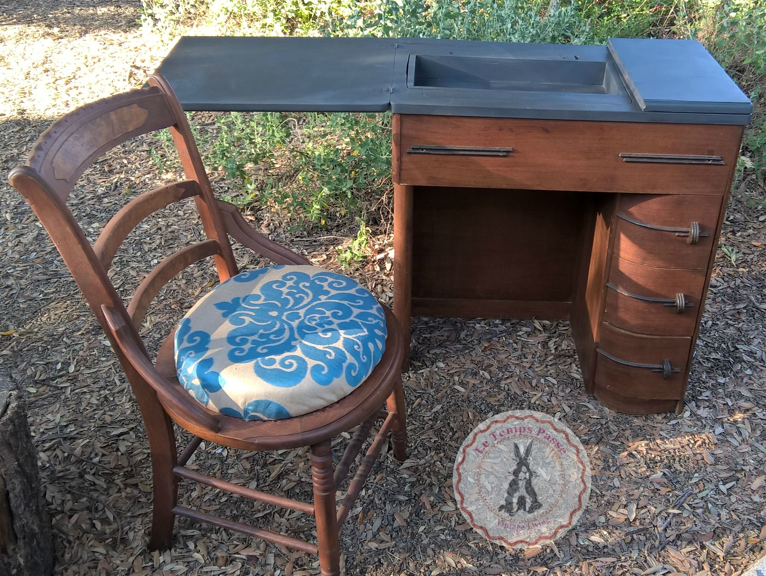 Art Deco Sewing Machine Cabinet converted to a desk or Vanity
