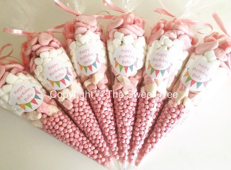 Pretty Pink Sweet Cones Party Bag Alternative Personalised Sweet