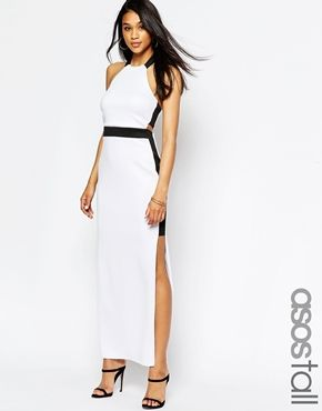 ASOS TALL Mono Halter Cut Out Maxi Dress