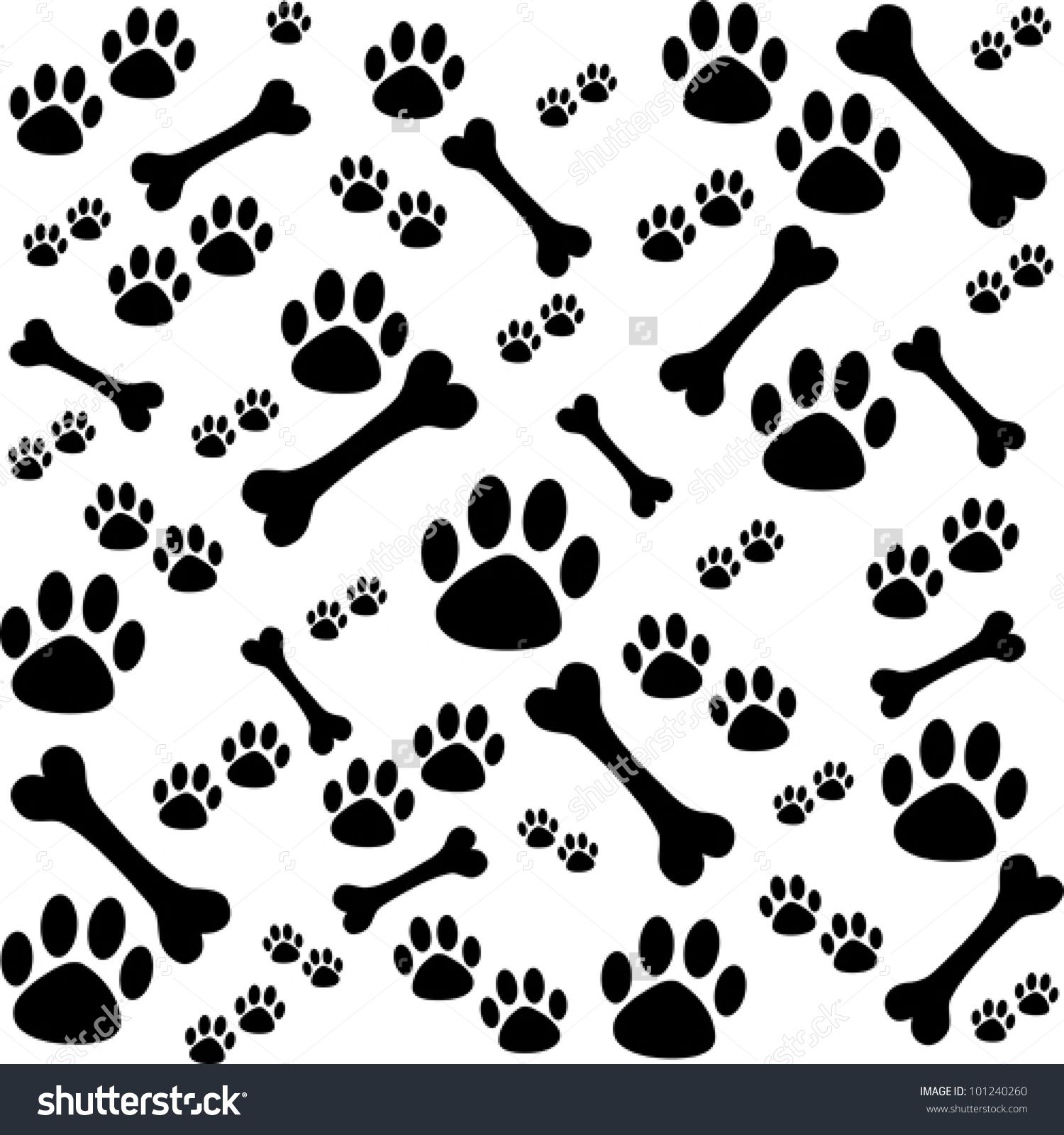 Background Dog Paw Print Bone Stock Vector Shutterstock