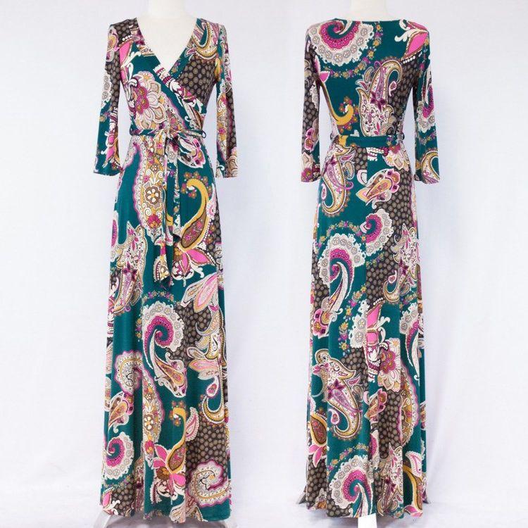 BEAUTIFUL GREEN Paisley MAXI DRESS Jersey Wrap LONG Skirt vtg BOHO Travel S-M-L #tamarstreasures #WrapDress #Cocktail