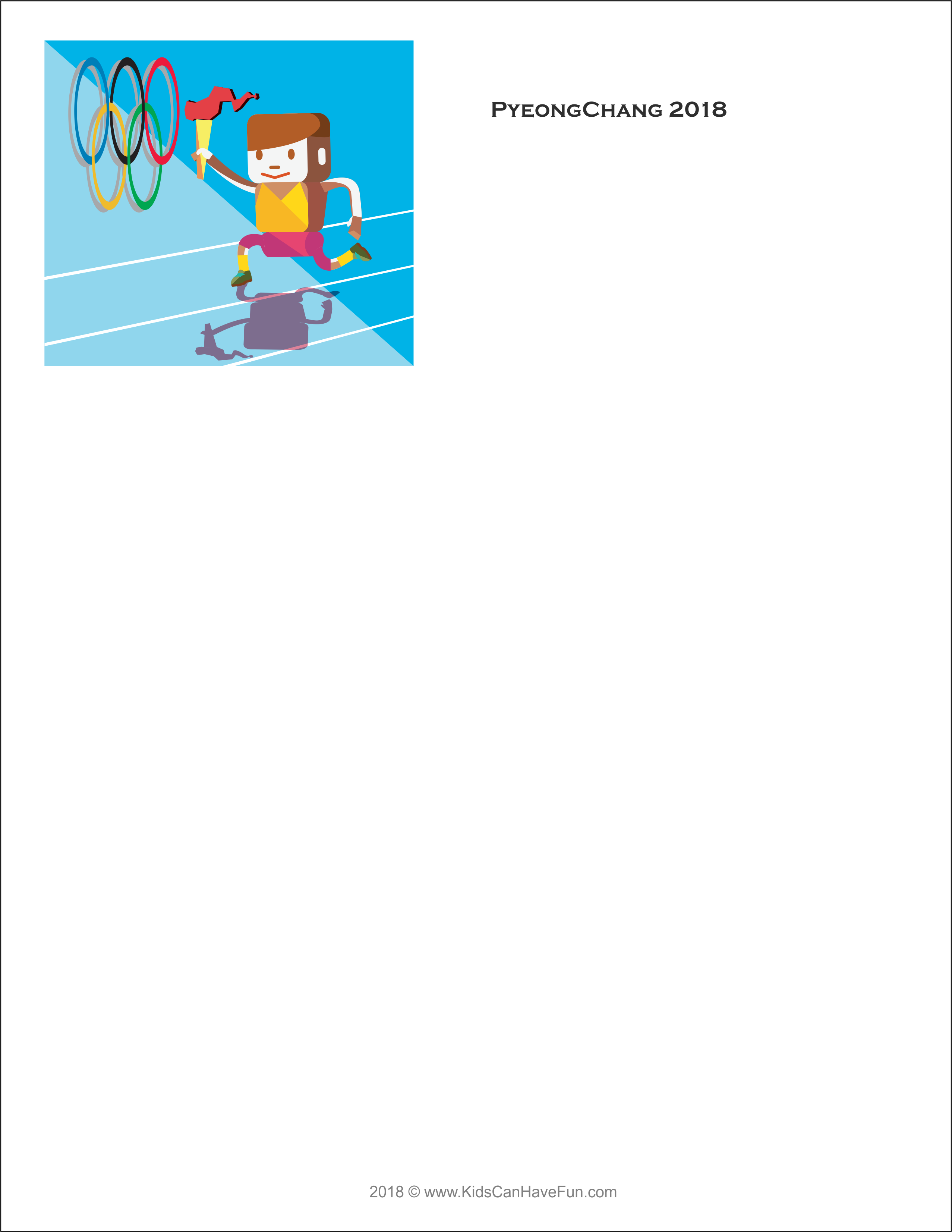 Winter Olympics Blank Writing Paper For Kids