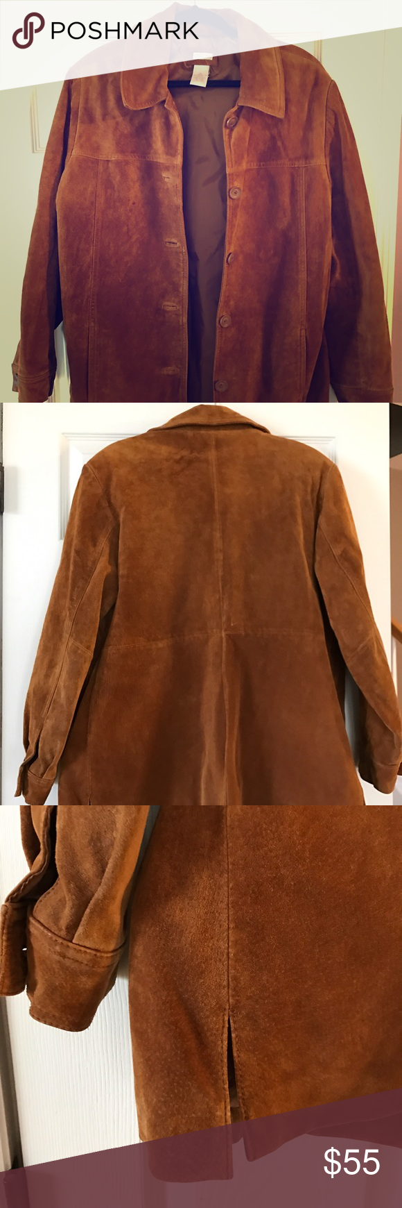 Suede Leather Jacket No blemishes, nice liner, excellent condition. Cherokee Jackets & Coats Blazers