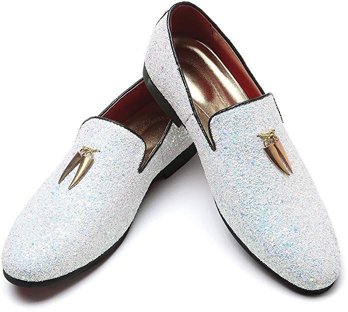 a3bb29a917e Andy J.K. Men s Modern Glitter Tuxedo Slip-on Loafers Luxury Metallic  Sequins Textured Wedding Prom Dress Shoes (11